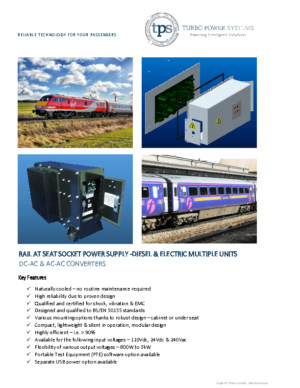 AT SEAT POWER SUPPLY DIESEL AND ELECTRIC MULTIPLE UNITS