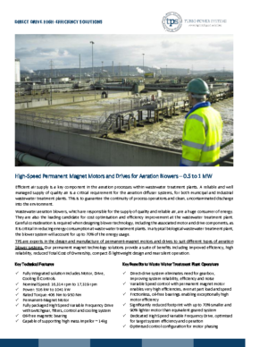 High-speed Motors and Drives for Aeration Blowers – Waste Water Treatment Plant